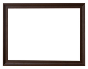 Wood frame horizontal for picture on isolated white with space.