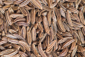 Macro photo of cumin seeds. Closeup 1:1