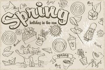Set of different doodles on a spring theme. black contour