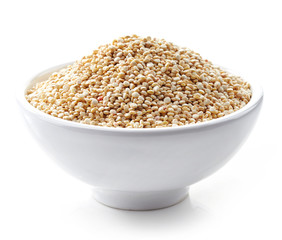 bowl of white quinoa seeds