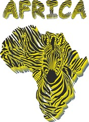 Silhouette map of Africa with the head of zebra
