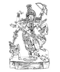 Hindu God winning the battle with demons. Sketch
