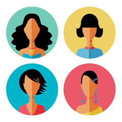 Set of women hair avatar icons in modern flat design. Vector illustration of various women character.
