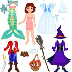 Paper doll with costumes