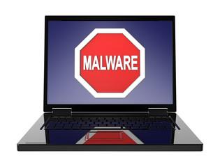 Malware warning sign on laptop screen.