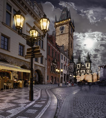 Wall Murals Prague Prague, Old City Hall at night