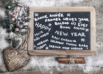 """""""Happy new year"""" in different languages on a chalkboard"""