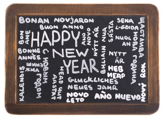 """Happy New Year"" in many languages in chalk"