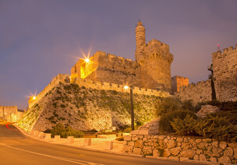 Jerusalem - The tower of David at dusk