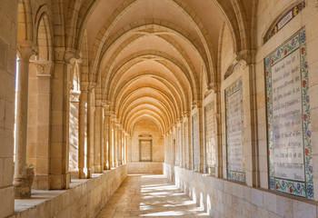 Jerusalem - corridor of atrium in Church of the Pater Noster