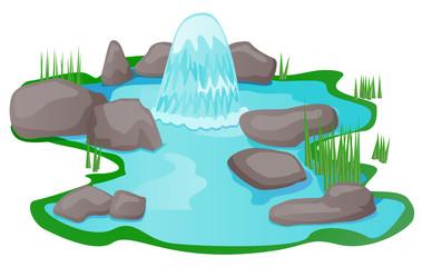 Natural spring pond vector