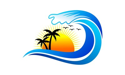 tropical palm and wave with sun log vector