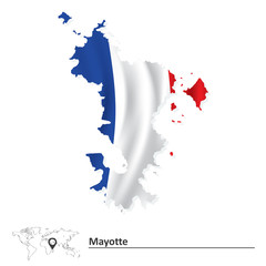 Map of Mayotte with flag