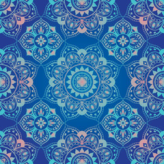 bright, blue, seamless oriental ornament