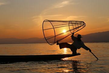 sunset and fisherman at inle lake