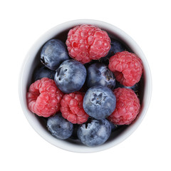 fresh raspberry and blueberry in bowl directly above
