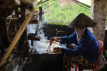 Vietnam woman was weaving silk