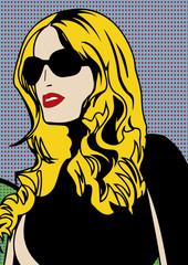 Portrait pop art d'une femme blonde