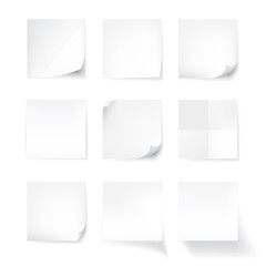 Set of white stick note isolated on white background, vector