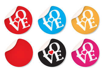 LOVE Round stickers. Circle labels with shadows, Vector