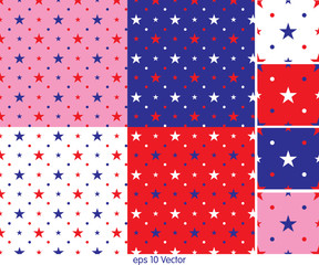 Set of seamless star background patterns