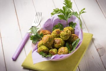vegetarian meatballs with peas