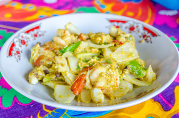Stir Fried seafood with curry