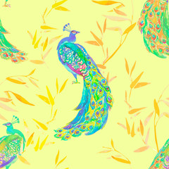 Beautiful peacock pattern. Tropical seamless pattern. Vector
