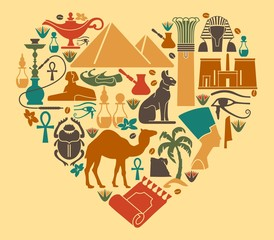 Symbols of Egypt in the shape of a heart