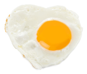 Heart made of fried egg on teflon pan isolated