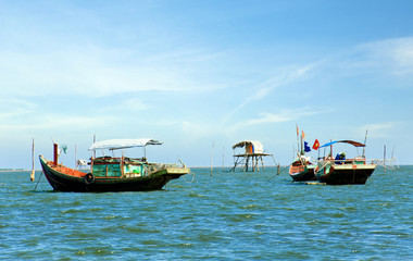 Boats in fishing village,