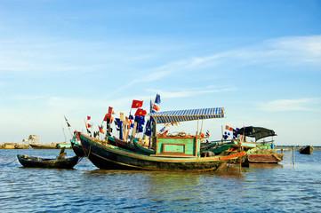 Boats in fishing village, vietnam