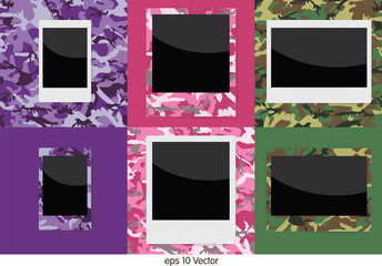 Set of camouflage instant photo frame