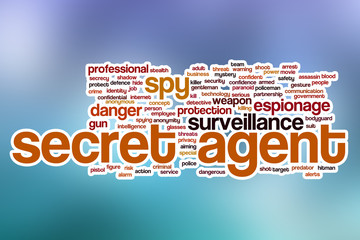 Secret agent word cloud with abstract background