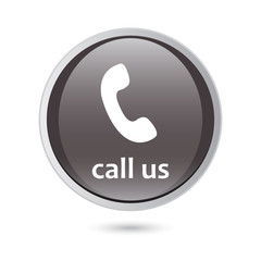 call us icon phone sign. black glossy button