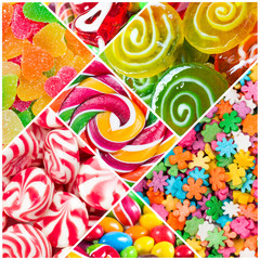 Fototapete - Collage of candy and sweets