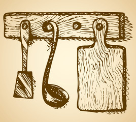 Cutting board, ladle and spatula hanging on hanger. Vector sketc
