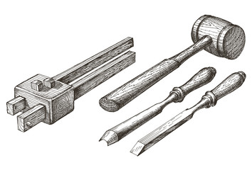 tools on a white background. sketch. joinery