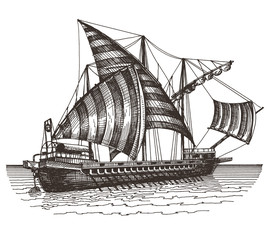 ship on a white background. sketch