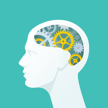 Human head with gears. Head thinking. Flat illustration
