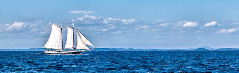 Vintage ship sailing at sea panorama