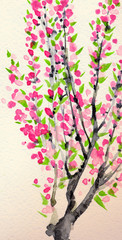 Watercolor background. Pink flowers on old tree