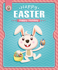 Vintage Easter poster design with bunny and basket
