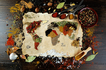 Foto auf Acrylglas Gewürze 2 Map of world made from different kinds of spices