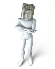 Papiertüte über Kopf, Dollar