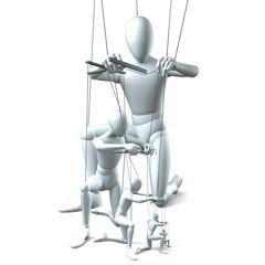 Weiße Figuren als Marionetten
