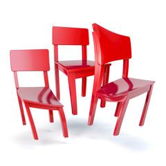 Drei deformierte, schwebende, rote Stühle
