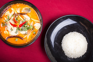 Tomyam  Thai cooking with rice