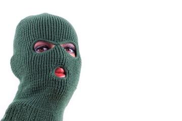 Green balaclava mask on manikin's head - fototapety na wymiar