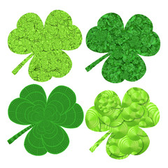 set of four stylized  clover saint patrics day